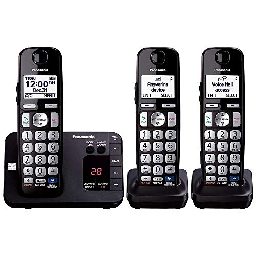 Panasonic KX-TGE233B DECT 6.0 Plus Technology (1.9GHz) Wall Mountable Range Extender Compatible Expandable Cordless Digital Phone with Large Keypad - 3 Handsets,Black