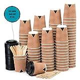 110 Vasos Desechables Ondulación Kraft de Doble Pared de Café Para Llevar - Vasos Carton 240 ml 8 Onzas con Tapas y Agitadores de Madera para...