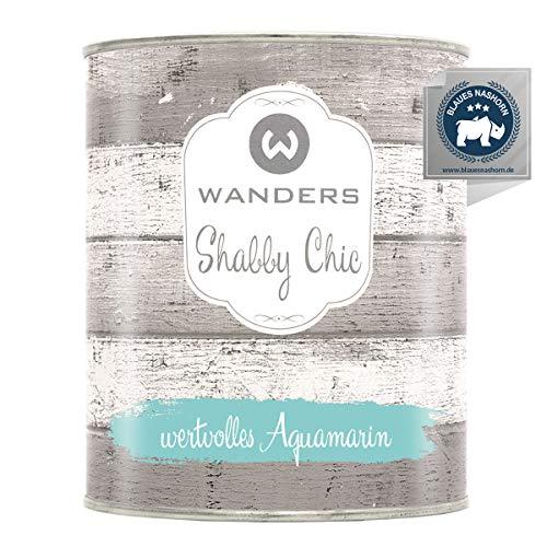 Wanders24® Kreidefarbe (750 ml, wertvolles Aquamarin) Holzfarbe für Shabby Chic Look - Möbelfarbe einfach zu verarbeiten - Möbellack auf Wasserbasis - Made in Germany