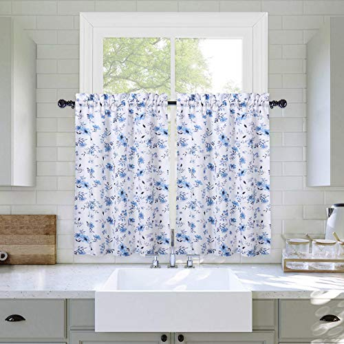 Haperlare Kitchen Curtains, Blue and Purple Watercolor Floral Pattern Bathroom Window Curtain 36 Inches, Farmhouse Leaf Pattern Cafe Curtains Half Window Treatment Set Small Curtains, Set of 2