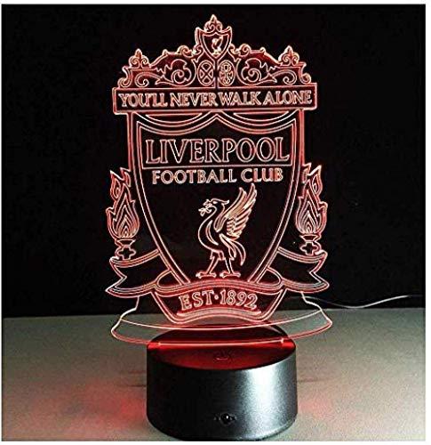 Nachtlicht Barcelona Fc Club Liverpool Club Fußball Led Visuelle Wirkung 3D Schalter Touch Conversion 7 Farben Kinderzimmer Lampe-Liverpool_A