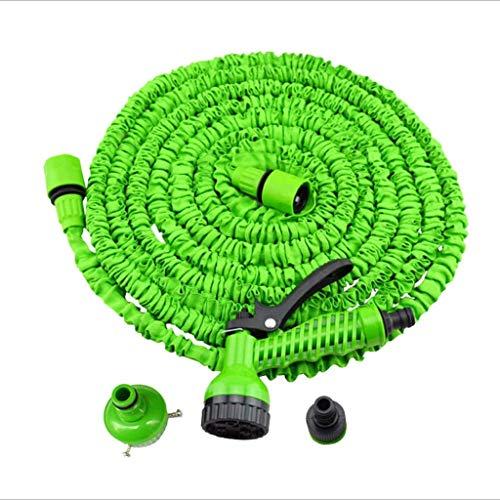 Schlauchleitungen , Erweiterbar 25 Fuß - 250 Fuß Gartenwasserschlauchrohr Flexibel Leichtes, knickfreies Schlauchrohr mit 7 Funktionen Spray Gun Gartenschlauch erweiterbar (Farbe: Grün, Größe: 50