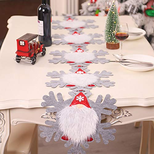 R-WEICHONG Christmas Decorations Swedish GNOME Runner Tablecloth Table Set