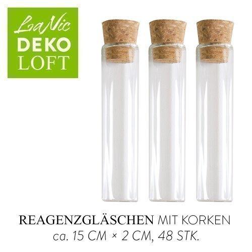 LaNic reageerbuizen met vlakke bodem - glazen buisje met kurk voor gastgeschenken, 48 stuks (15 cm)