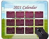 Yanteng Calendario 2021, Tappetino per Mouse Verde Erba Estate con Bordi cuciti