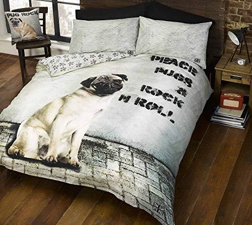 Doghouse Designs, motivo: cane carlino Trapunta Copripiumino Matrimoniale, 2 federe, motivo: cucciolo di cagnolini Set di biancheria da letto, colore: beige, letto King-Size