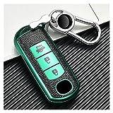MYDH Coche Estuche Funda Llaves Clave Caso Bolsa De Cubierta De Clavija De Coche Portátil TPU + Cuero con Llavero para BMW X5 F15 X6 F16 G30 7 Serie G11 X1 F48 F39 (Color : Verde)