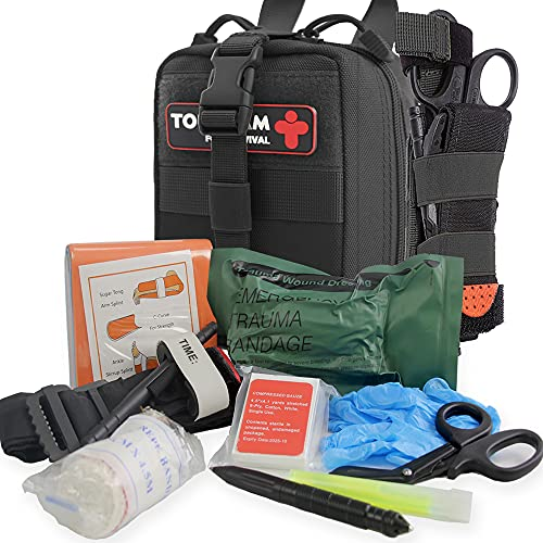 IFAK Trauma First Aid Kit, Micro Rip Away Molle Med Pouch,...
