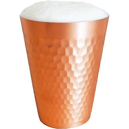 【 冷たさが続く 】とろ泡純銅タンブラー 新潟県燕市製 純銅製槌目 350ml / ビールグラス ビールタンブラー ビアグラス ビアタンブラー きつさこ仕様 (単品)