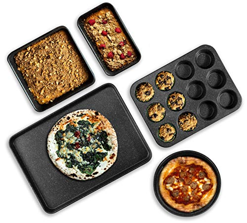 Granite Stone Pro 5 Piece Bakeware Set, 0.8MM Gauge, Durable Nonstick Surface, Oven Safe 550°F with No Warping, Dishwasher Safe, Cookie Sheet, Muffin Pan, Loaf Pan & Round Pan and XL Rectangular Tray