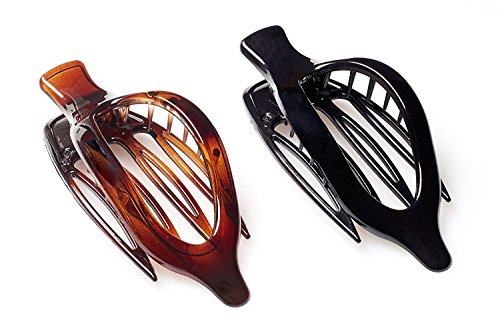 Luxury Hair Claw Clips – Pulleez French Collection – Side-Slide Infinity Clips in Black and Tortoise Shell – Hypoallergenic