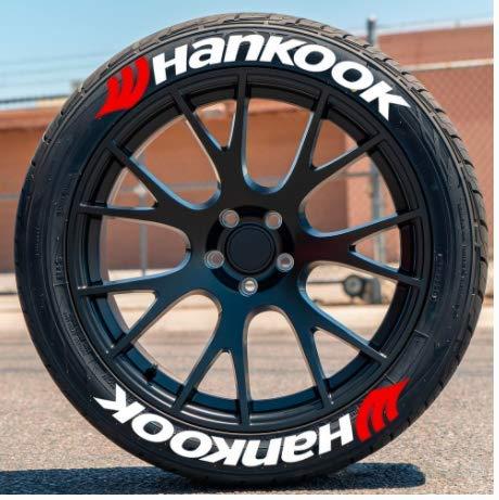 Hankook - Pegatinas permanentes para neumáticos de 1 pulgada para ruedas de 14 a 22 pulgadas, 8 unidades