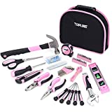 TOPLINE 188-Piece Ladies Pink Tool Kit with Easy Carrying Round Pouch, Home Tool Kit for Women with...