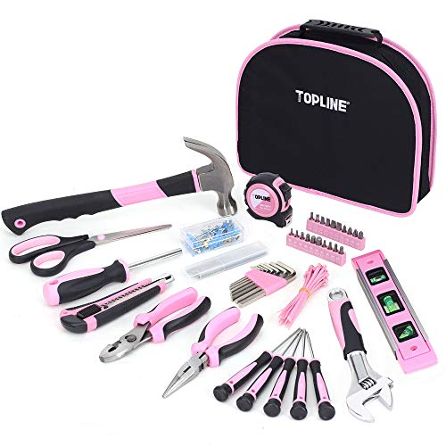 TOPLINE 188-Piece Ladies Pink Tool Kit with Easy Carrying Round Pouch, Home Tool Kit for Women with Durable Materials and Soft Handles, Perfect for Gifts, DIY Projects, Daily Use and Home Improvement