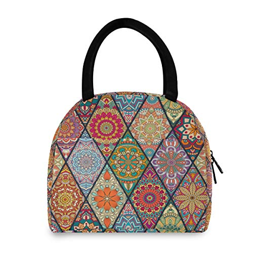 ADMustwin - Bolsa de almuerzo aislada con diseño de mandala étnico, diseño de flores, lonchera para la escuela, picnic, viaje, trabajo, para mujer, hombre y adolescente