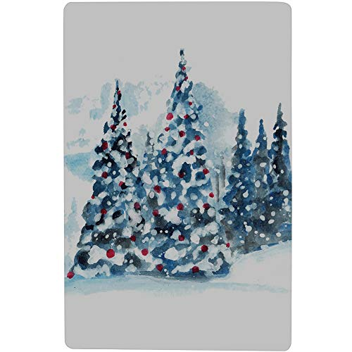 "LWEAG Bath Tub Mat Best Bathroom Mat Hand Painted Christmas Tree Printing Non-Slip with Strong Rubber Suction Cup 16.5"" X 28.7"" Kids Bathroom Rug"