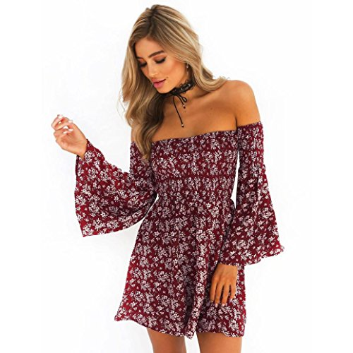 Neartime Womens Dress, Off Shoulder Flounce Sleeves Casual Floral Short Mini Dress...
