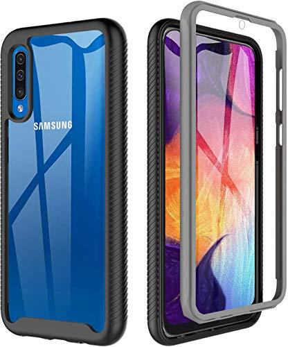 BESINPO Coque Samsung A50, Coque Samsung A30S Antichoc Transparente 360 Degrés Protection complète du Corps Bumper TPU Case Intégré Etui Housse pour Samsung Galaxy A50/ A30S (Noir/Gris + Clair)