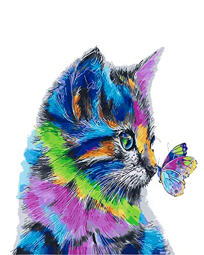 YXQSED Wooden Framed Diy Oil Painting Paint by Number Kit for Adults - Colorful cat 16x20 Inch
