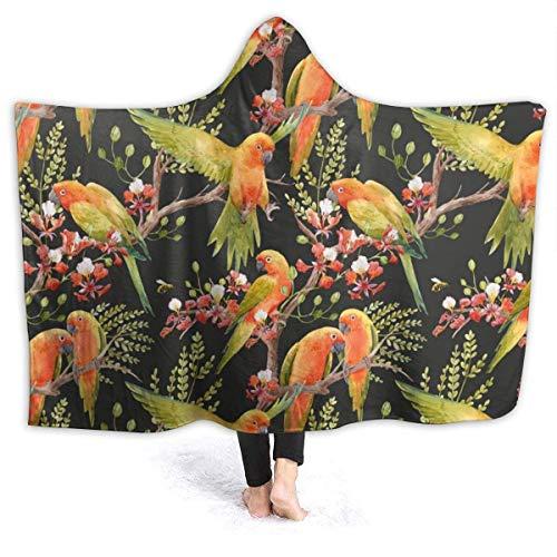 AEMAPE Acuarela Tropical Parrots Manta con Capucha Mantas Suaves Manta de Tiro de Lana para niños, Adultos 50x40in-SE