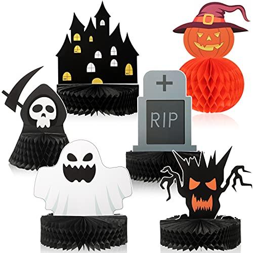 6 Centros de Mesa de Panal de Abeja de Halloween Centros de Mesa de Abanico de Papel Decoración de Mesa de Lápida Calabaza Fantasma para Decoraciones de Halloween Hogar Fiesta Niños