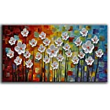 YaSheng Art - Hand painted Contemporary Art Oil painting On Canvas Texture Abstract Flowers Artwork Paintings Home Interior Decor Wall Art wall art for living room Ready to Hang 20'x40'inch