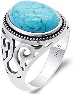 Vintage Turquoise Rings for Men - Solid 925 Sterling Silver Retro Turquoise Wedding Jewelry Bands Rings- Hollow Bohemia En...