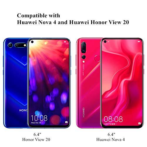 Wonanse Panzerglas Schutzfolie für Honor View 20 / Huawei Nova 4, [2 Stück] [Anti-Kratzer/Bläschen/Fingerabdruck/Staub] [9H Härte] [Hüllenfreundlich] HD Displayschutzfolie für Huawei Honor View 20 - 5