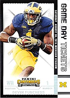 Devin Funchess football card (University of Michigan Wolverines) 2015 Contenders Draft Picks #15 Game Day Tickets Rookie