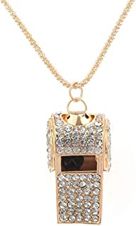 Gilroy Womens Rhinestone Whistle Shape Pendant Necklace Long Chain Gift