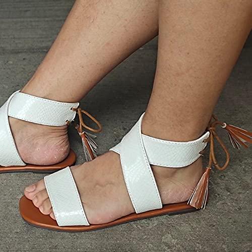 Btytu Verano Sandalias de Mujer con Punta Abierta y Transpirables Zapatos Planos Casuales Sandalias Zapatillas de Playa,Blanco,36