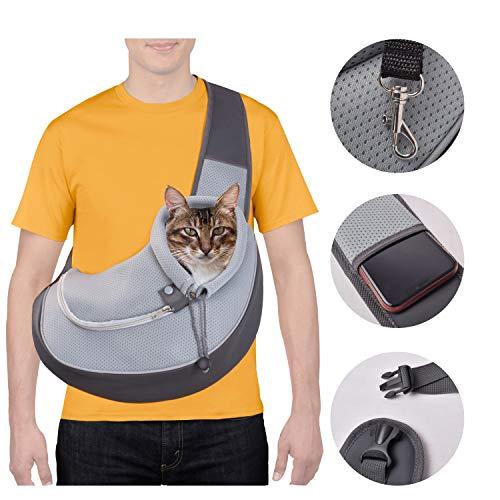 CUBY Haustiere Hund und Katze Tragetücher Hände frei atmungsaktives Netz verstellbare Welpentasche Travel Safe Sling Carrier für kleine Hunde Katzen (Einheitsgröße, Hellgrau)