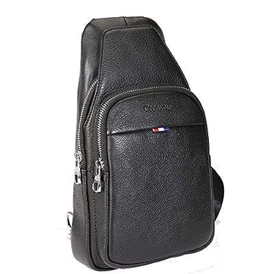 Cecoyom Men's Genuine Leather Chest Bag Chest package Sling Bag Large Capacity Multipurpose Daypack Chest Shoulder Backpack Casual Crossbody Travel Hiking Vintage Chest Bag Daypacks for Men?Black?