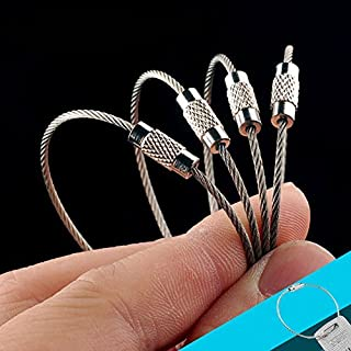 OneTigris 4pcs Heavy Duty Stainless Cable Keyring EDC Keychain (4)