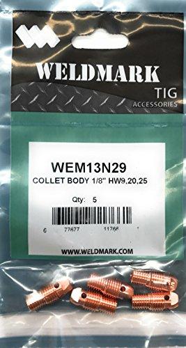 Weldmark TIG Collet Body #9, 20, 25 Torch Pk = 5 (13N29-1/8')