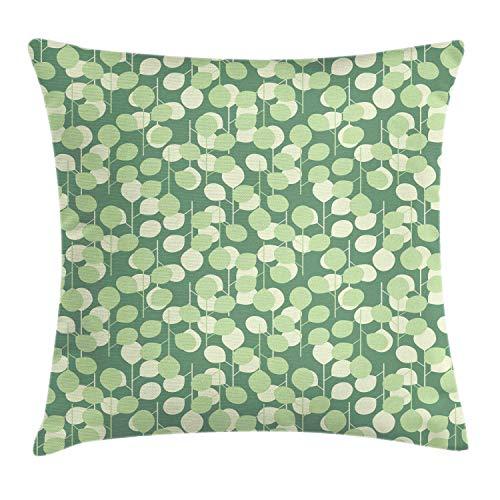 ABAKUHAUS bladeren Sierkussensloop, Abstract cirkelmotieven, Decoratieve Vierkante Hoes voor Accent Kussen, 40 cm x 40 cm, Laurel Green Pale Green