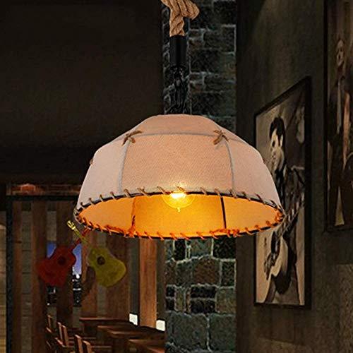 UWY Candelabro de Cuerda de cáñamo Pantalla de Lino de una Sola Cabeza Luz Colgante Retro Industrial Iluminación LED Decoración Luz de Techo para Dormitorio, Comedor, Estudio, Pasillo, balcón