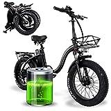 SSQIAN Bicicleta De Nieve EléCtrica Plegable, 48v 750w 15ah BateríA De Litio 20 Pulgadas Bicicleta De MontañA E-Bike Fat Tire Bicicleta, Bicicleta EléCtrica De Asistencia con Pedal con Cesta