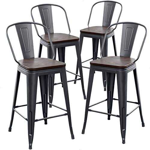 AKLAUS Metal Bar Stools Set of 4 Counter Height Stools with Backs Counter Stools High Back Bar Chairs 26 Inch Matte Black
