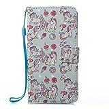 Prechkle Phcases Handyhülle für iPhone XS Max Hülle Brieftasche Klapphülle mit Standfunktion Kartenfach und Magnetverschluss 3D Effekt Design Tasche aus PU Leder Silikon Schutzhülle Katzen-Pferd. -
