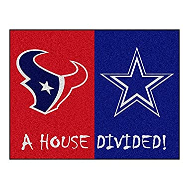 FANMATS 15556 Team Color 33.75  x 42.5  Rug (NFL - Texans - Cowboys House Divided)