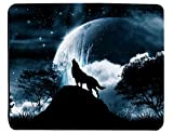 Wolf Howling At The Moon Rectangle Mouse Pad 240x200x3mm At Colored Cases Store