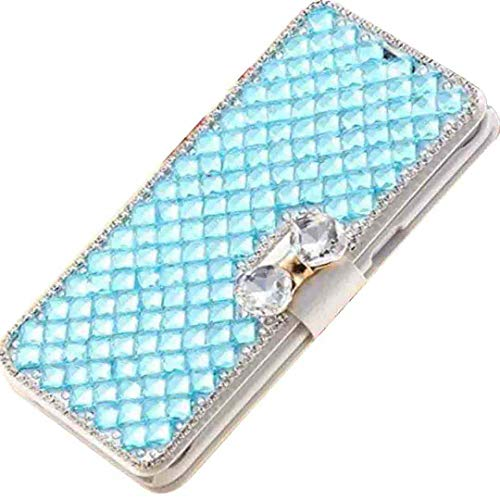 Beautyfull - Funda para LG K10/K420 K430, manual de diamantes de cristal Bling New Wallet Cover con soporte, color azul