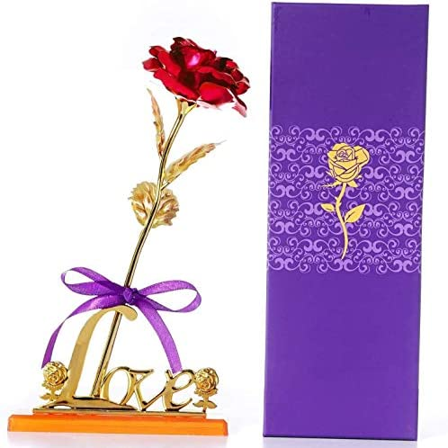 24K Gold Foil Rose Artificial Rose Flowers with Display Stand in Gift Box Best Gift for Valentine product image