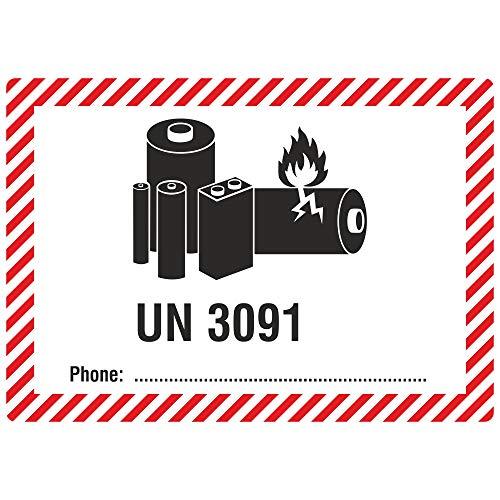 Labelident Transportaufkleber - enthält Lithium Metall Batterien UN 3091-105 x 74 mm - 500 Verpackungskennzeichen auf 76 mm (3 Zoll) Rolle