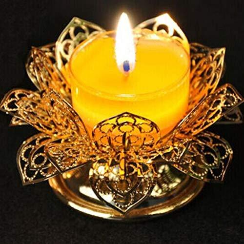 Gjrff For la lámpara de Buda, Titular de la lámpara de Mantequilla, de Oro de Filigrana Lotus Candelabro, Hueco, de Velas, portavelas, Candler ~
