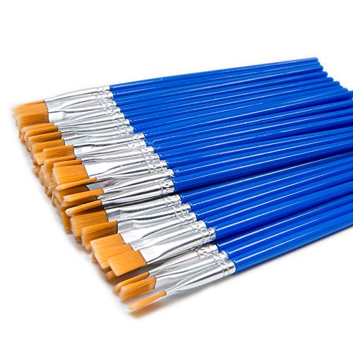 Miconate Children's Art Paintbrushes,Little Painting Brushes for Kids with Flat Tip Blue 14cm (50 Pieces)