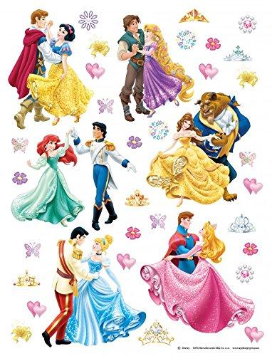 1art1 Disney Prinzessin - Rapunzel, Aurora, Cinderella, Arielle, Belle Wand-Tattoo | Deko Wandaufkleber für Wohnzimmer Kinderzimmer Küche Bad Flur | Wandsticker für Tür Wand Möbel/Schrank 30 x 30 cm