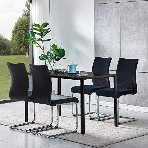 Ansley&HosHo Black Glass Dining Table and 4 Velvet Chairs Set Modern 5 Pieces Kitchen Tempered Glass Table with 4 Upholstered Velvet Chairs for Small Apartment Dinette