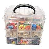 Juego de manualidades para niños de cuentas de madera en caja de 1000 unidades, mezcla de colores natural, coloridas cuentas de madera